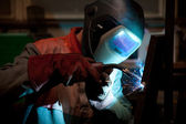 Factory welder at work — Stock Photo