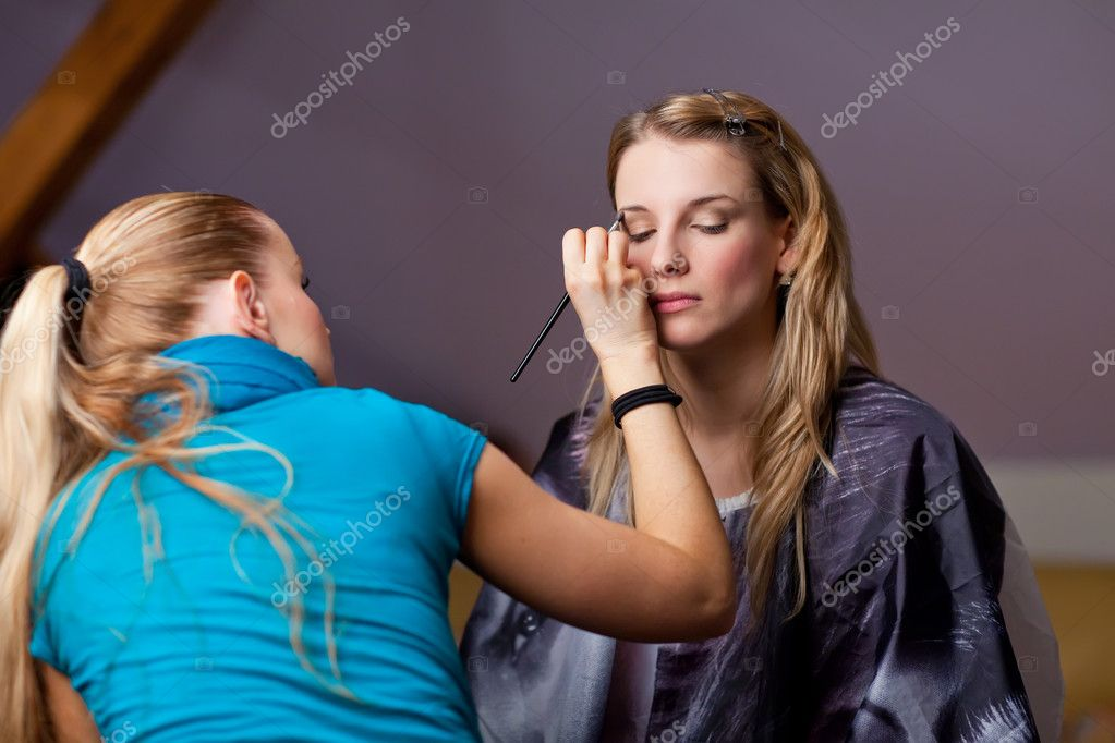 Make-up session - two young beautiful women — Stock Photo #7600780