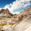 View of high mountain in Italy near tourist cottage — Stock Photo