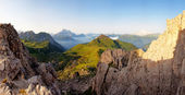Nice panoramic view of high mountains — Stock Photo