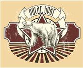 Etiqueta con un oso polar — Vector de stock