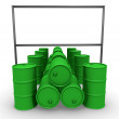 Green barrels with blank billboard — Stock Photo