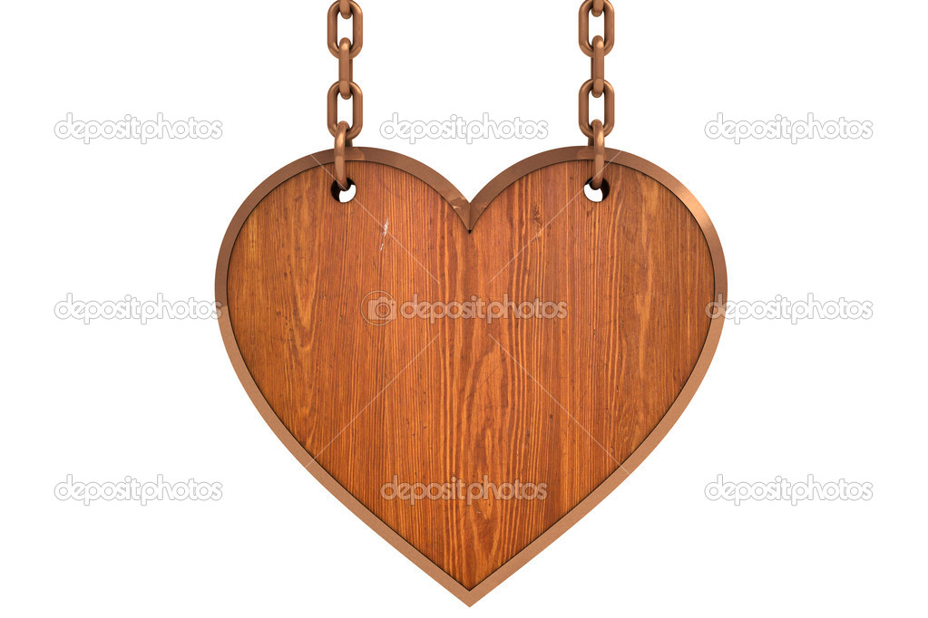 Heart wood sign with chain on white background  Stock Photo #6915177
