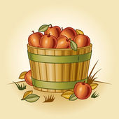 Retro bushel of apples — Stock Vector