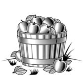 Retro bushel of apples black and white — Stock Vector
