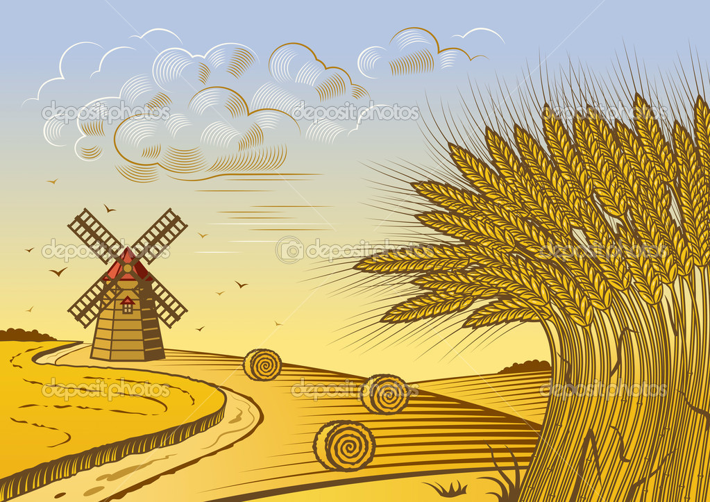 Field Landscape Vector Retro Wheat Fields Landscape
