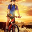 Evening shot of a cyclist with sunset background — Stock Photo