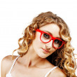 Woman in red glasses . — Stock Photo