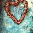 Grunge heart on blue wall — Stock Photo #7897057