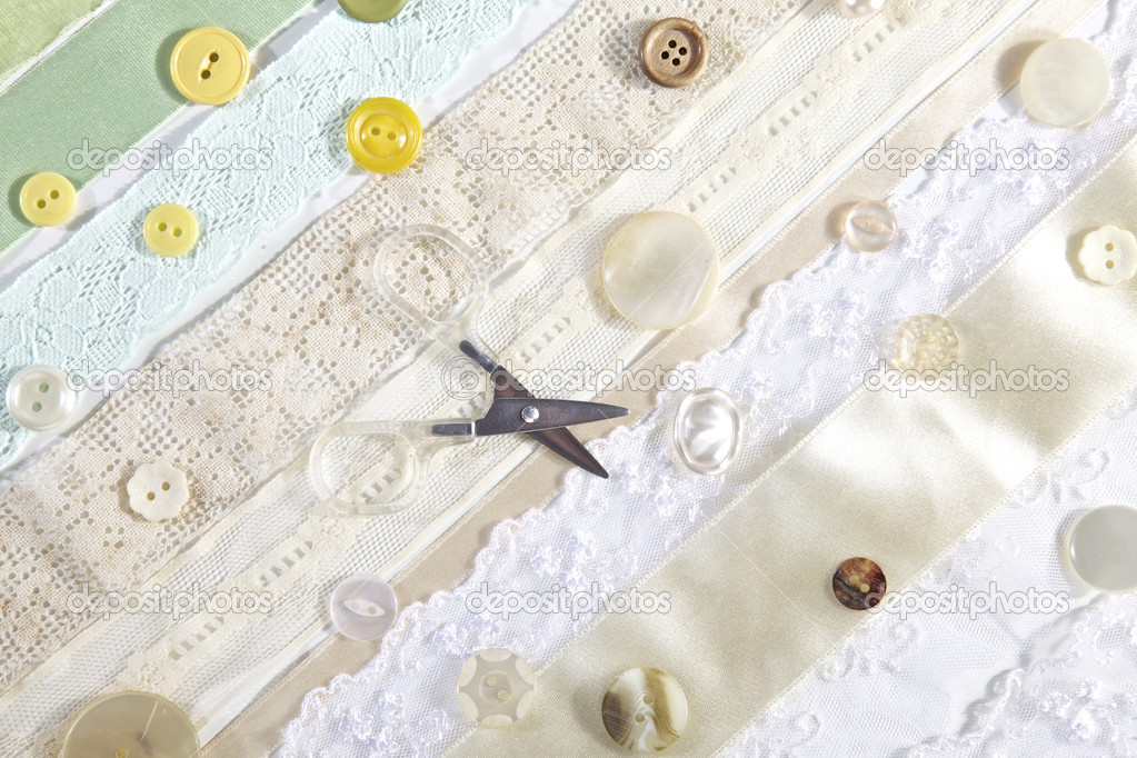 Sewing Materials, Lace, Ribbons and Buttons — Stock Photo #7201095