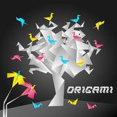 Origami Tree — Stock Vector