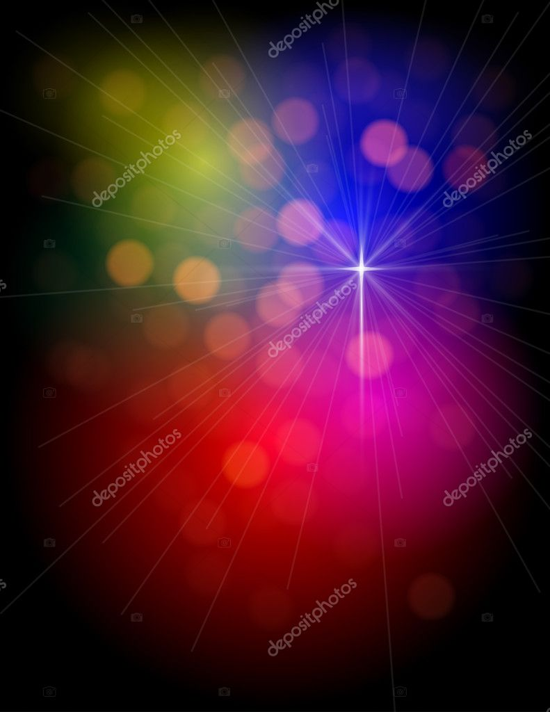 Abstract Colorful Lights background portrait with star — Stock Vector #6774634