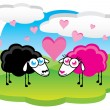 Sheep in love — Stock Vector