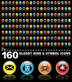 160 symbol icons — Stock Vector