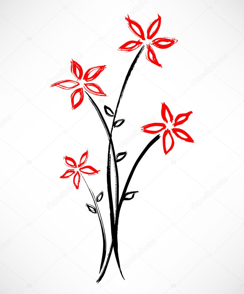 Beautiful flower painting suitable for a card  Stock Vector #6816228