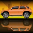 Постер, плакат: Orange sports utility vehicle