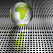 Metallic Green Globe on Chrome Grid - Stockvektor