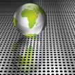 Metallic Green Globe on Chrome Grid - 图库矢量图片