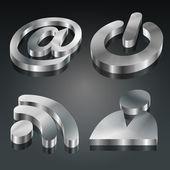Metalic 3D Symbols Set — Stock Vector