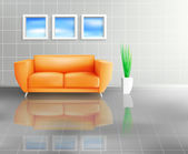 Orange Sofa In Tiled Living Space — Stock Vector