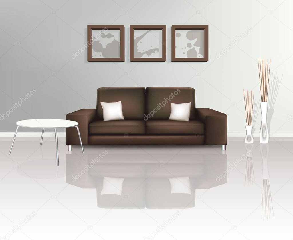 Modern Living Space with Brown Sofa (EPS10)  Stock Vector #7611459