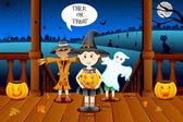 Kids in Halloween Costume — Stock Vector