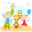 Stock Vector: Kids Enjoying Party