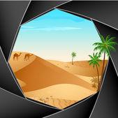 Desert Scene through Camera — Stock Vector