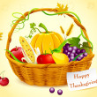 Basket Full of Thanksgiving Vegetable - Stock Vector