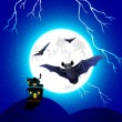 Bat flying in Halloween Night — 图库矢量图片