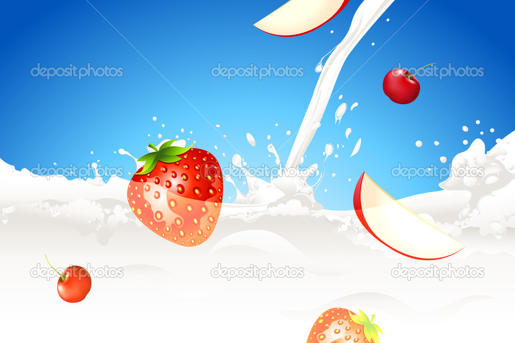 Illustration of fruit in splashing milk on abstract background — Stock Vector #6944908