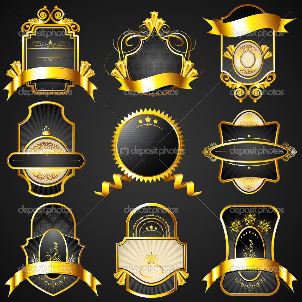Illustration of royal badge with golden frame on black background — Stock Vector #6954568