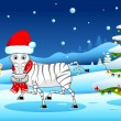 Zebra in Christmas mood — Stock vektor