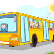 Stock Vector: Kids in School Bus