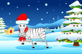 Zebra in Christmas mood — Stock Vector