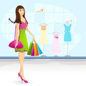 делающая покупки леди — Cтоковый вектор