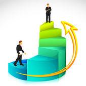 Uomo d'affari sul grafico a barre — Vettoriale Stock