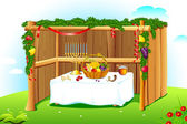 Decorated Sukkah — Stock Vector