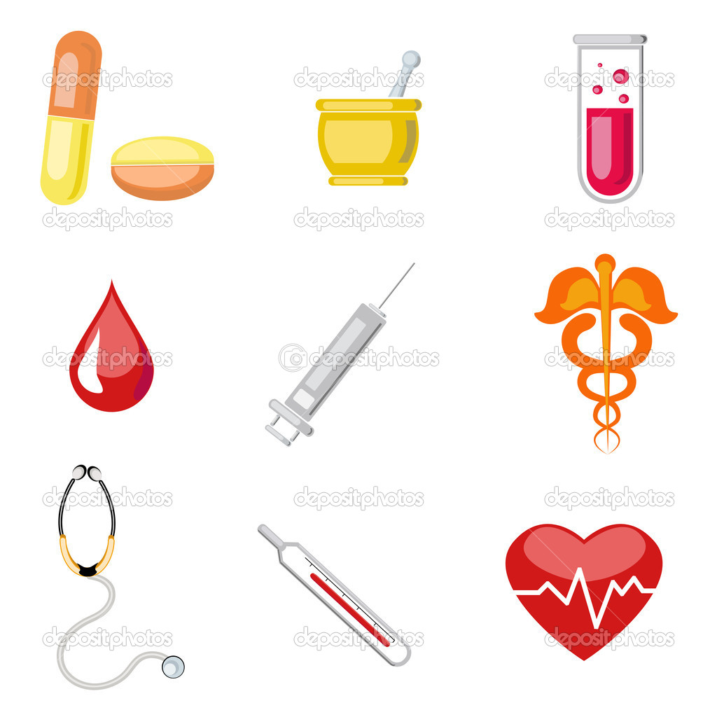 Illustration of set of medical icon on plane white background — Stock Vector #7178829