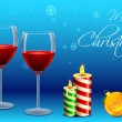 Wine Glass with Candle for Christmas — Stock Vector