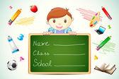 Jongen met schoolbord — Stockvector