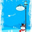 Snowman under lamp post — Stock Vector
