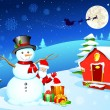 Snowman with Santa — Stock vektor