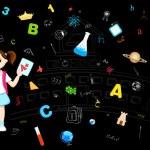 Girl with Grade Sheet — Stock Vector
