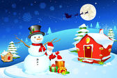 Snowman with Santa — Stock Vector