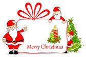 Santa with Christmas Gift — Stock Vector