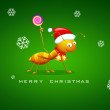 Ant celebrating Christmas - Stock Vector