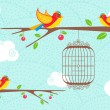 Cute Birds sitting on tree — Imagen vectorial