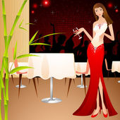 Lady in Party — Stock Vector