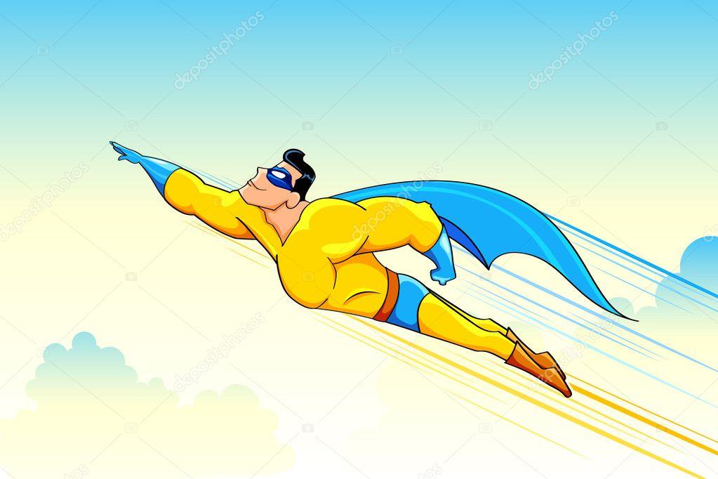 Yükle - Uçan süper kahraman — Stok İllüstrasyon #7946576 Superhero Flying Vector